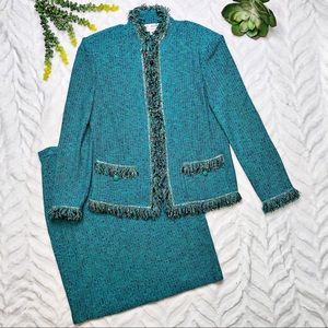 St. John Collection Tweed Turquoise Skirt Suit 12
